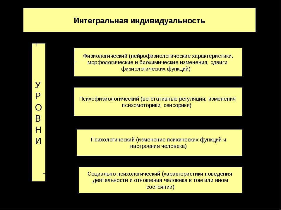 Интегральная индивидуальность Физиологический (нейрофизиологические характери...