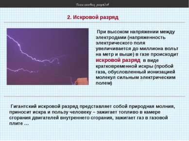 Типы газовых разрядов 2. Искровой разряд При высоком напряжении между электро...