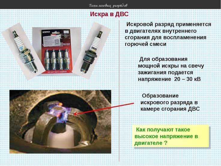 Типы газовых разрядов Искровой разряд применяется в двигателях внутреннего сг...