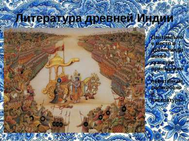 Литература древней Индии Центральное место в древнеиндийской культуре принадл...