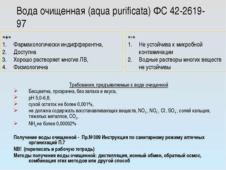 Вода очищенная (aqua purificata) ФС 42-2619-97 Требования, предъявляемые к во...