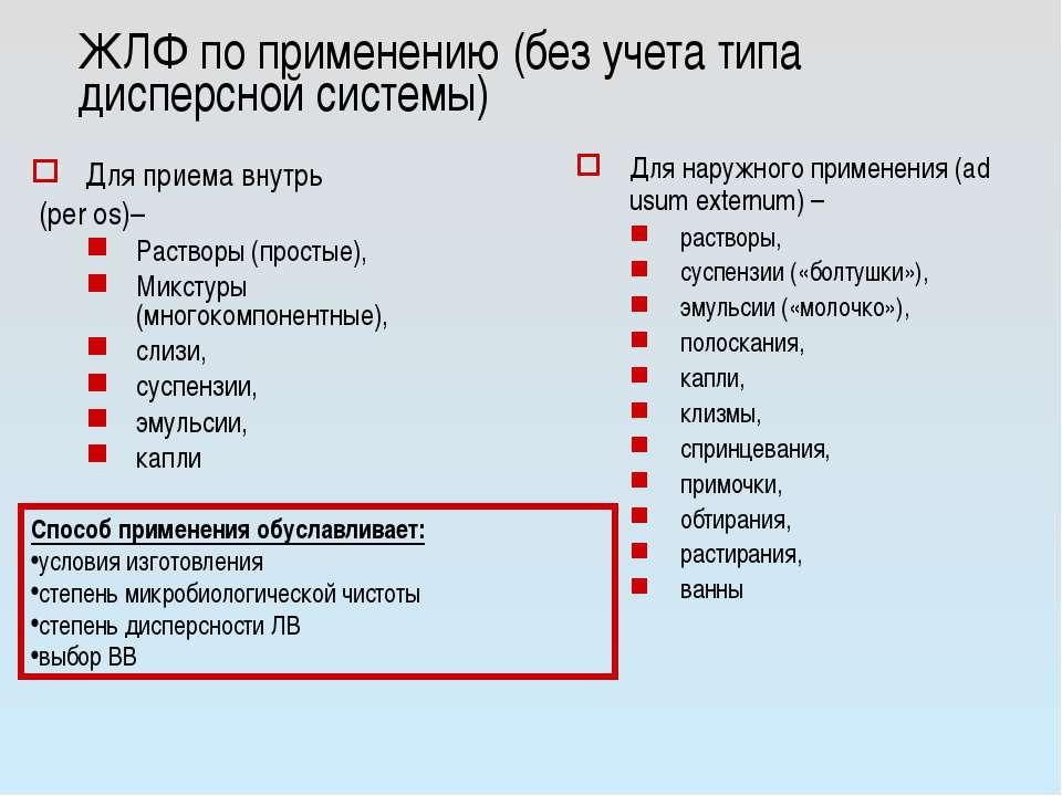 ЖЛФ по применению (без учета типа дисперсной системы) Для приема внутрь (per ...