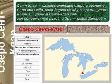 Сент-Клэр— самое маленькое озеро в системе Вели-ких Озёр, нахо-дится между о...