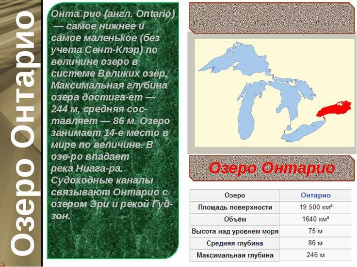 Онта рио(англ.Ontario)— самое нижнее и самое маленькое (без учета Сент-Клэ...