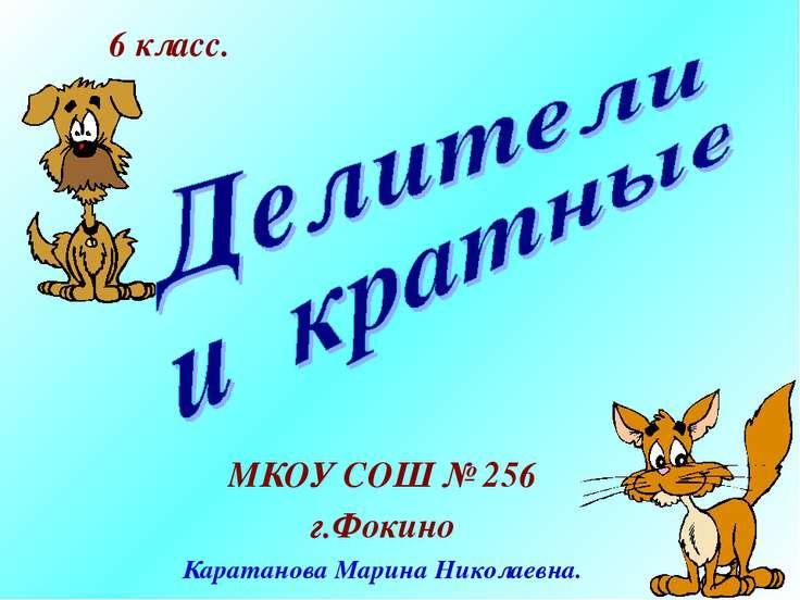 МКОУ СОШ № 256 г.Фокино Каратанова Марина Николаевна. 6 класс.