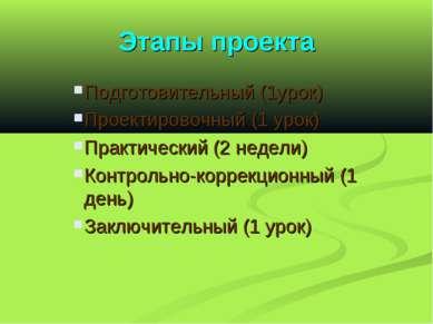 Этапы проекта Подготовительный (1урок) Проектировочный (1 урок) Практический ...