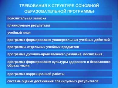 ТРЕБОВАНИЯ К СТРУКТУРЕ ОСНОВНОЙ ОБРАЗОВАТЕЛЬНОЙ ПРОГРАММЫ пояснительная запис...