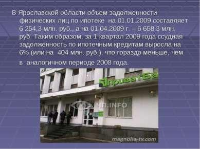 В Ярославской области объем задолженности физических лиц по ипотеке на 01.01....