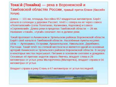Тока й (Токайка)— река в Воронежской и Тамбовской областях России, правый пр...