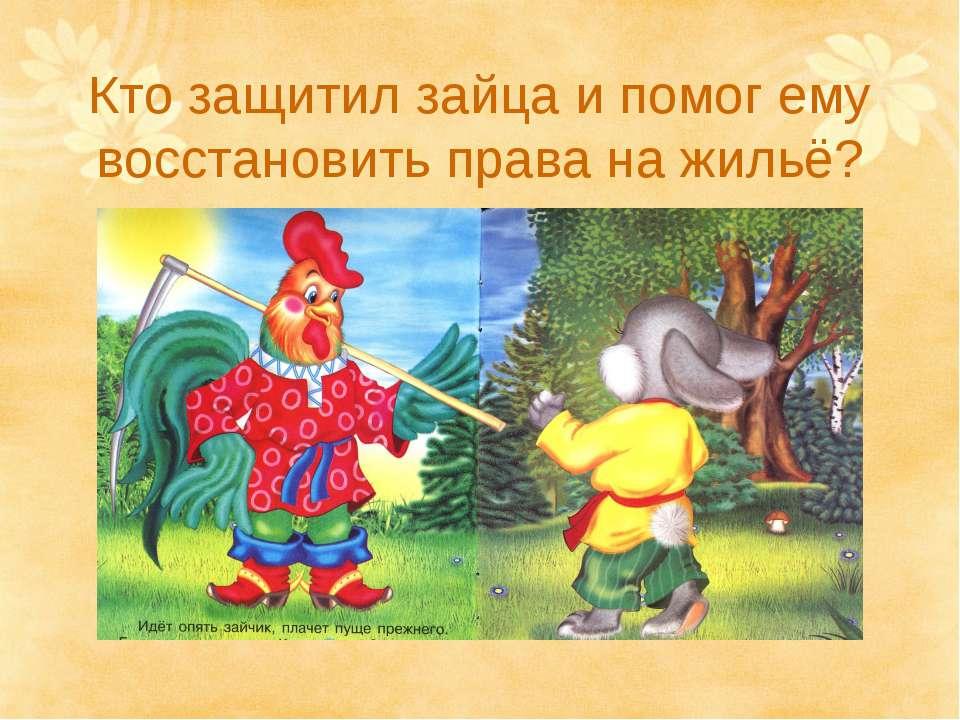 Кто защитил зайца и помог ему восстановить права на жильё?