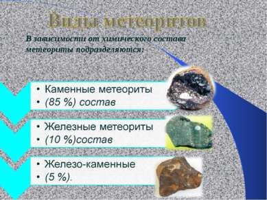 В зависимости от химического состава метеориты подразделяются: