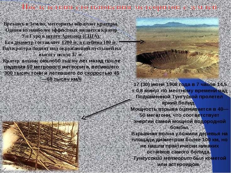 Врезаясь в Землю, метеориты образуют кратеры. Одним из наиболее эффектных явл...