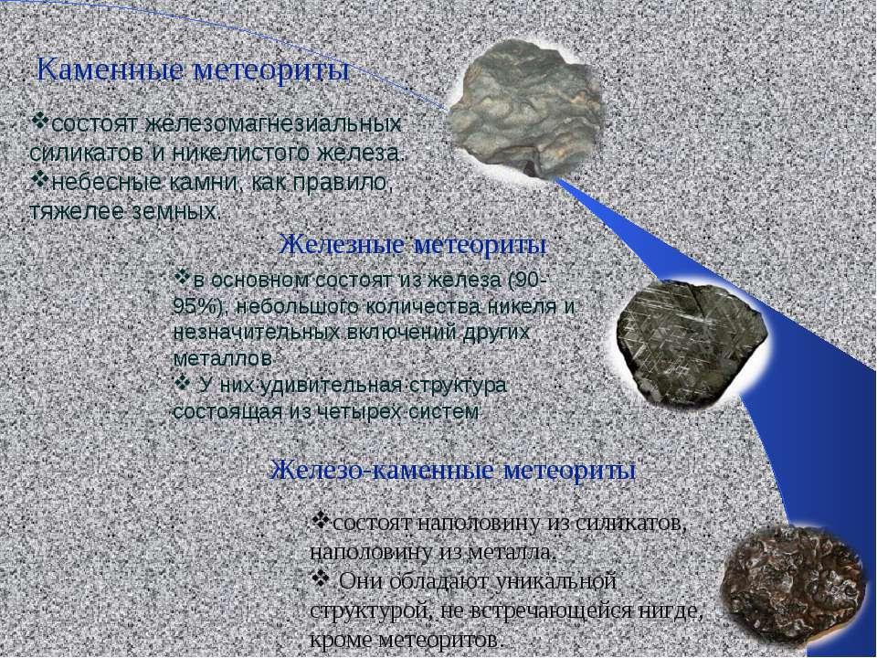 состоят железомагнезиальных силикатов и никелистого железа. небесные камни, к...