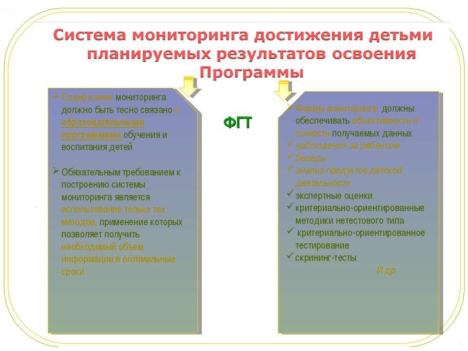 ФГТ Содержание мониторинга должно быть тесно связано с образовательными прогр...