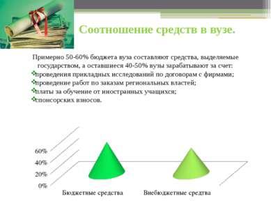Соотношение средств в вузе. Примерно 50-60% бюджета вуза составляют средства,...