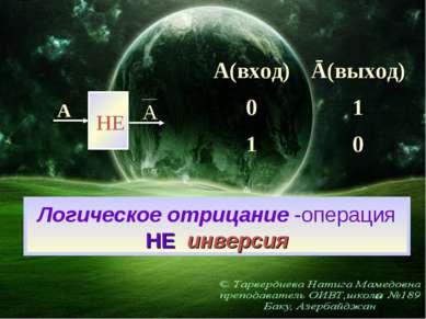 Логическое отрицание -операция НЕ инверсия НЕ А А А(вход) Ā(выход) 0 1 1 0