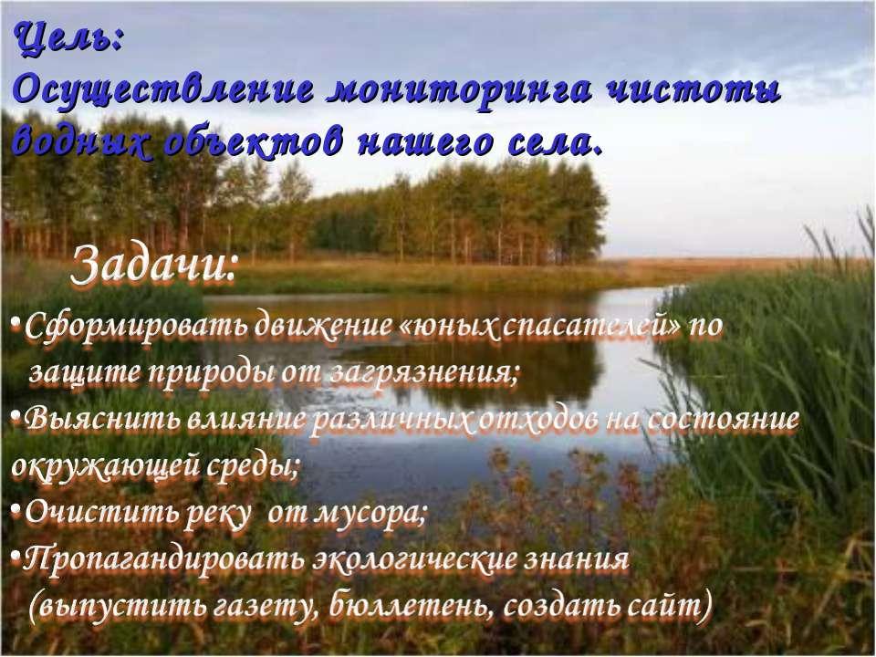 Цель: Осуществление мониторинга чистоты водных объектов нашего села.
