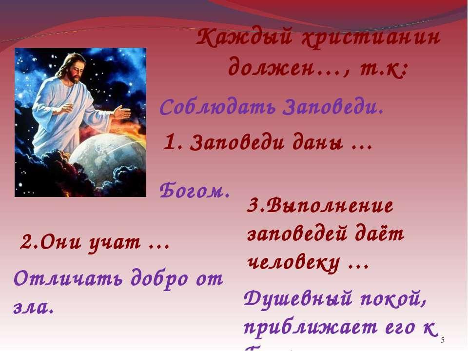 * Каждый христианин должен…, т.к: Соблюдать Заповеди. 1. Заповеди даны … Бого...
