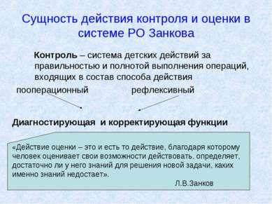 Сущность действия контроля и оценки в системе РО Занкова Контроль – система д...