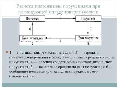 Расчеты платежными поручениями при последующей оплате товаров (услуг): 1 — по...