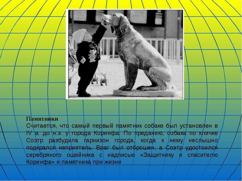 Памятники Считается, что самый первый памятник собаке был установлен в IV в. ...