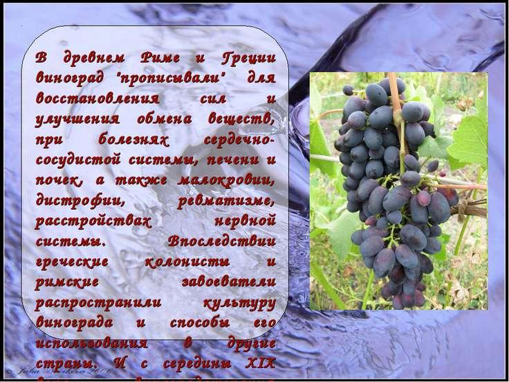 """В древнем Риме и Греции виноград """"прописывали"""" для восстановления сил и улучш..."""