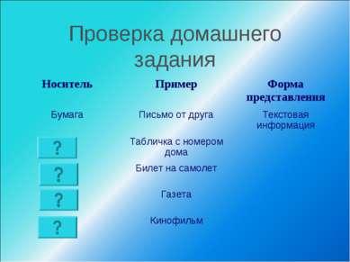 Проверка домашнего задания Носитель Пример Форма представления Бумага Письмо ...