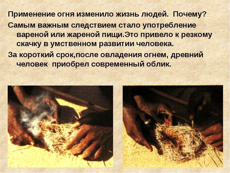 Применение огня изменило жизнь людей. Почему? Самым важным следствием стало у...