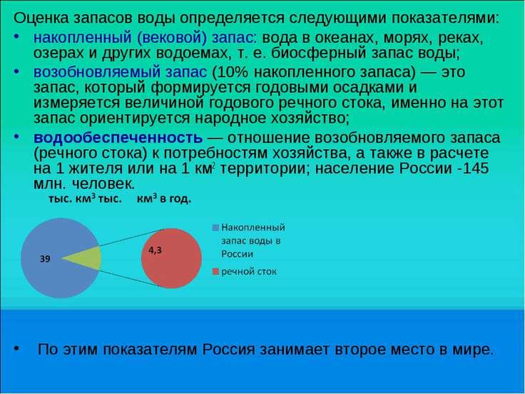 Оценка запасов воды определяется следующими показателями: накопленный (веково...