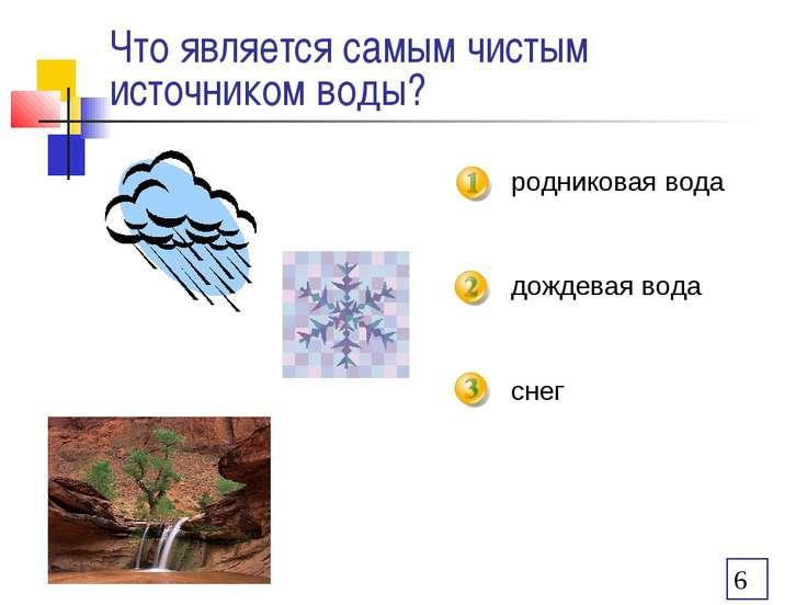 Что является самым чистым источником воды? родниковая вода дождевая вода снег