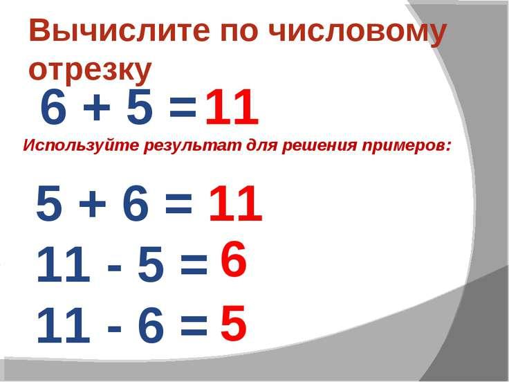Вычислите по числовому отрезку 6 + 5 = 11 11 6 5 5 + 6 = 11 - 5 = 11 - 6 = Ис...