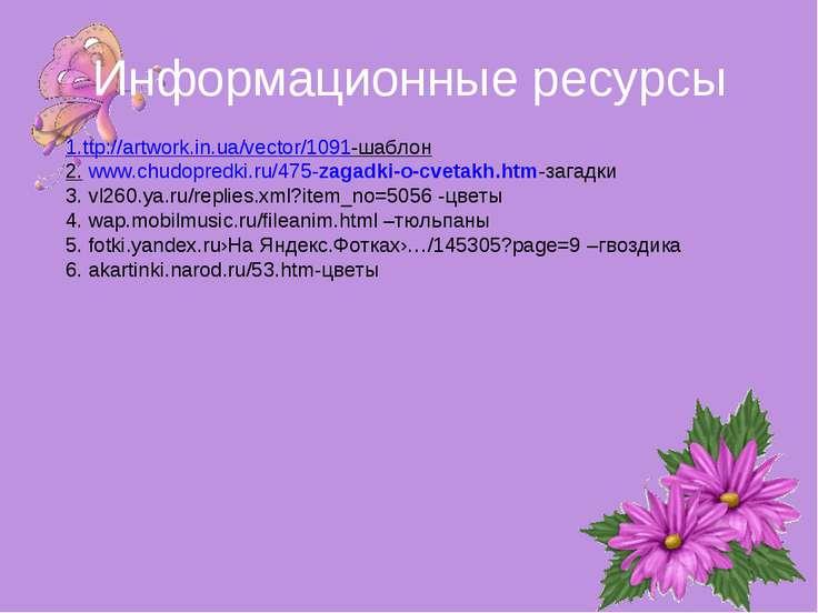 Информационные ресурсы 1.ttp://artwork.in.ua/vector/1091-шаблон 2. www.chudop...
