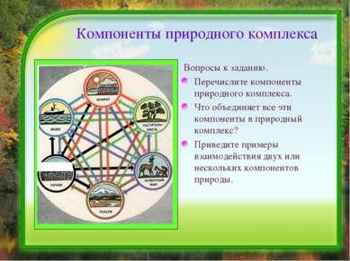 Компоненты природного комплекса Вопросы к заданию. Перечислите компоненты при...