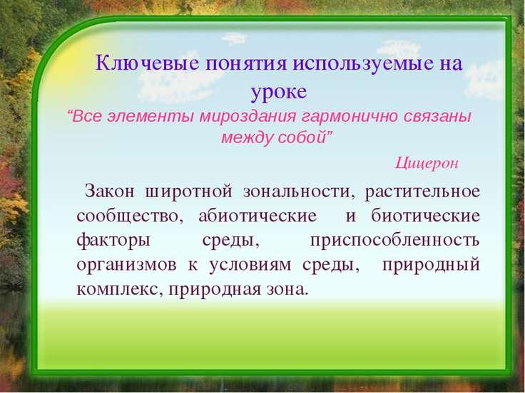 """Ключевые понятия используемые на уроке """"Все элементы мироздания гармонично св..."""