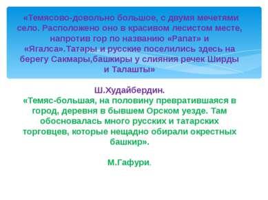 «Темясово-довольно большое, с двумя мечетями село. Расположено оно в красивом...