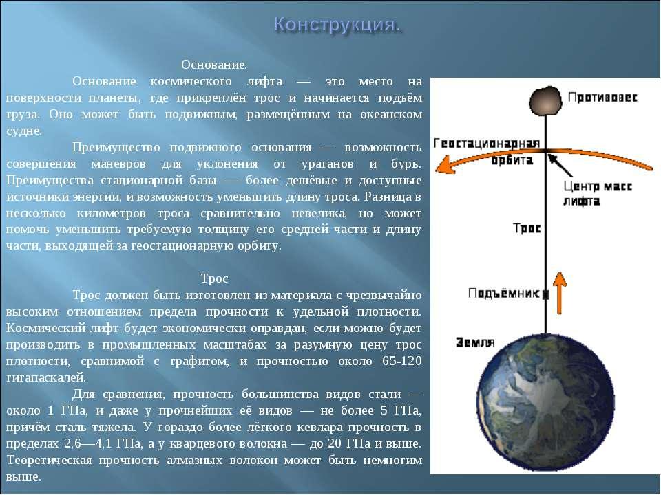 Основание. Основание космического лифта — это место на поверхности планеты, г...
