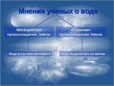 Мнения ученых о воде Метеоритное происхождение Земли «Горячее» происхождение ...