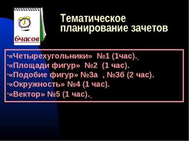 Тематическое планирование зачетов «Четырехугольники» №1 (1час). «Площади фигу...