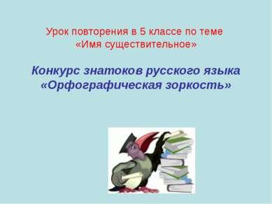 Урок повторения в 5 классе по теме «Имя существительное» Конкурс знатоков рус...