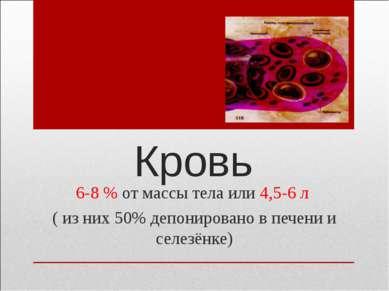 Кровь 6-8 % от массы тела или 4,5-6 л ( из них 50% депонировано в печени и се...