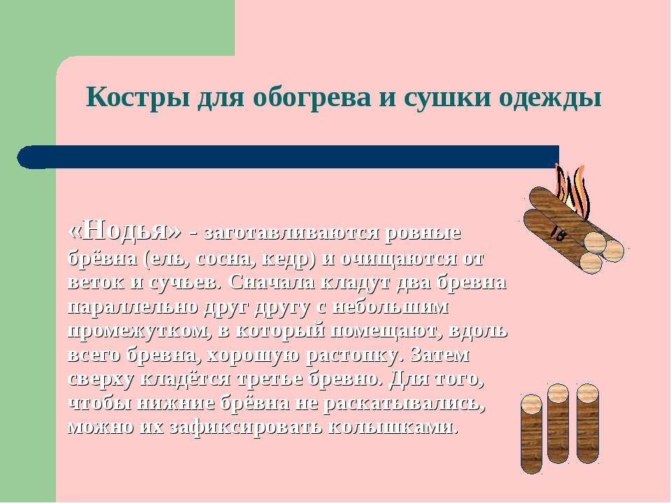 Костры для обогрева и сушки одежды «Нодья» - заготавливаются ровные брёвна (е...