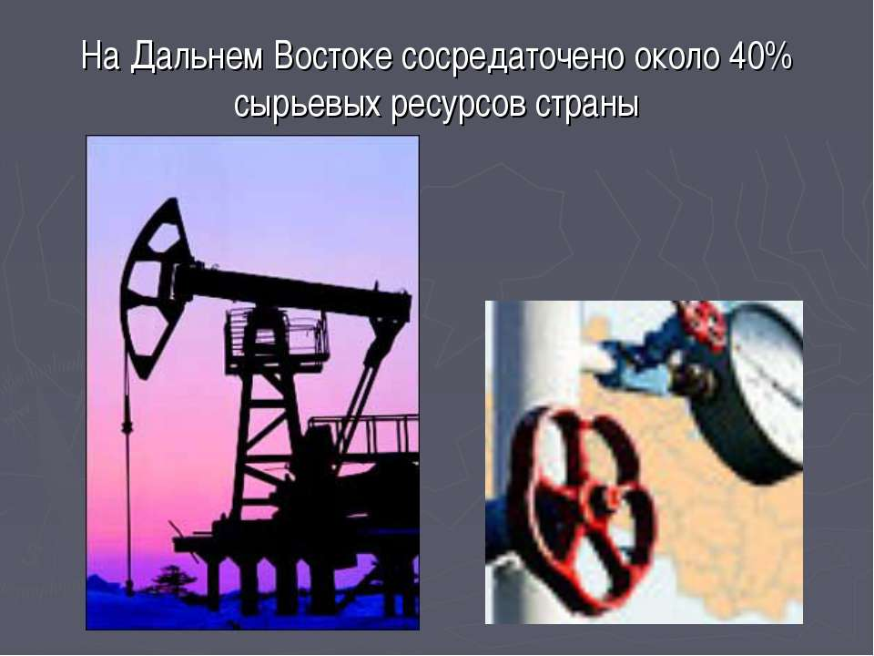 На Дальнем Востоке сосредаточено около 40% сырьевых ресурсов страны