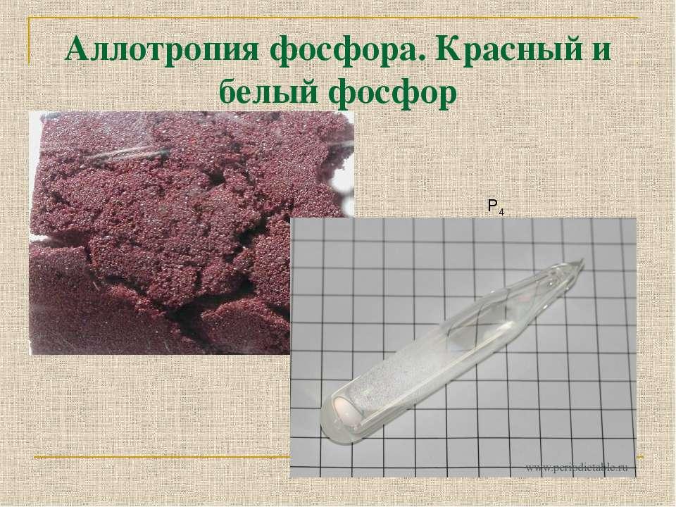 Аллотропия фосфора. Красный и белый фосфор Р4