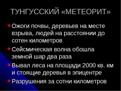 ТУНГУССКИЙ «МЕТЕОРИТ» Ожоги почвы, деревьев на месте взрыва, людей на расстоя...