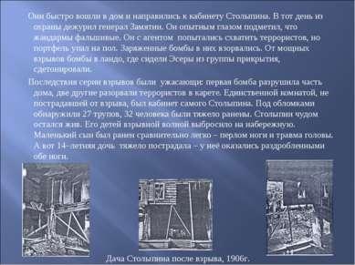 Они быстро вошли в дом и направились к кабинету Столыпина. В тот день из охра...