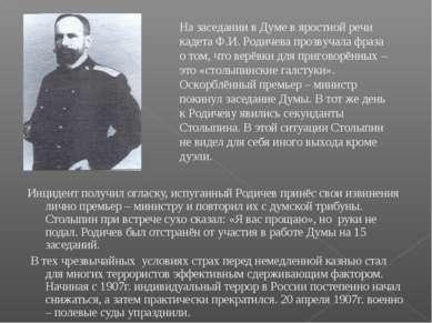 Инцидент получил огласку, испуганный Родичев принёс свои извинения лично прем...