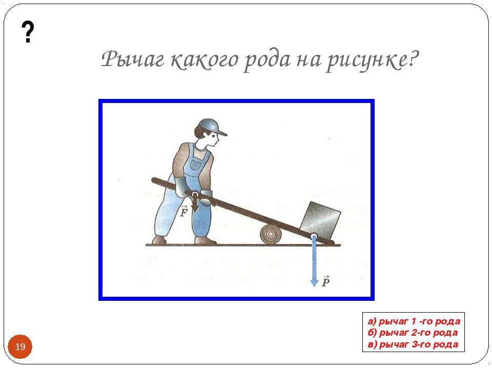 Рычаг какого рода на рисунке? а) рычаг 1 -го рода б) рычаг 2-го рода в) рычаг...