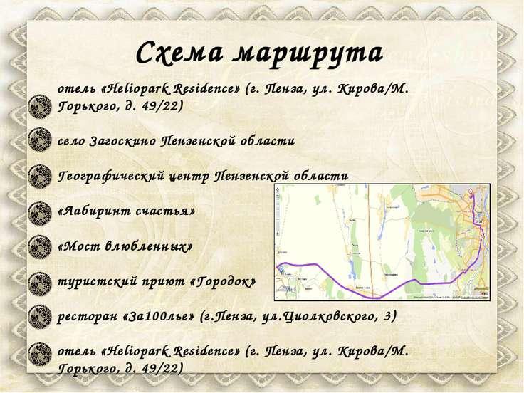 Схема маршрута отель «Heliopark Residence» (г. Пенза, ул. Кирова/М. Горького,...