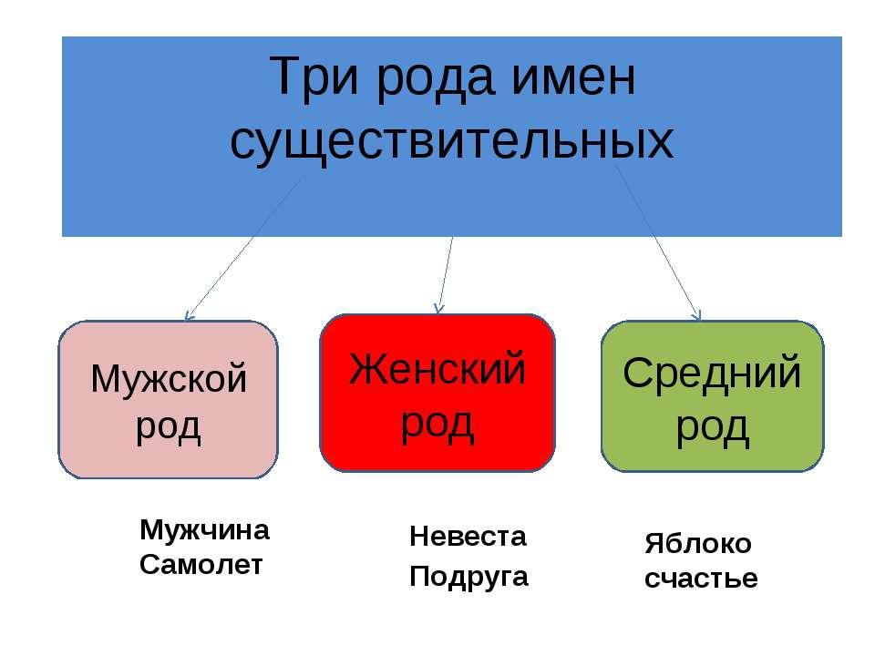 Три рода имен существительных Мужской род Женский род Средний род Мужчина Сам...