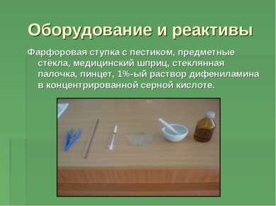 Оборудование и реактивы Фарфоровая ступка с пестиком, предметные стёкла, меди...